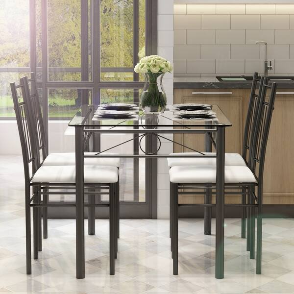 Goujxcy 5 Piece Kitchen Dining Table Set Modern Dining Table Set With Tempered Glass Top Table And 4pcs Pu Leather Chair Set Home Kitchen Dining Room Furniture 5 Piece Black Furniture Home