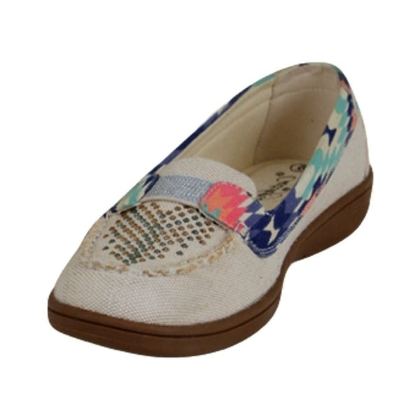 Catchfly Western Shoes Women Loafers Canvas Crystals Slip On