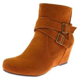 Diba Womens Katch EE Ankle Boots Faux Sueder Covered Wedge