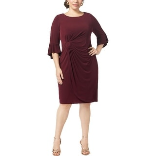 Connected Apparel Womens Plus Cocktail Dress Drapey Bell Sleeves