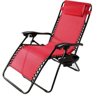 Sunnydaze Oversized Zero Gravity Lounge Chair with Pillow and Cup Holder (More options available)