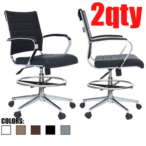Set of 2 Modern Designer Ergonomic Office Drafting Chair with Arms Ribbed Computer Black
