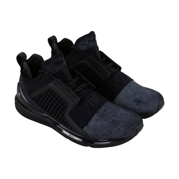 c76e78ad83b117 Puma Ignite Limitless Brushed Mens Black Textile Athletic Running Shoes