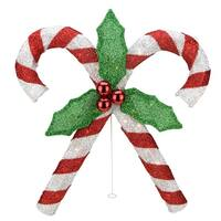"""26"""" Lighted Red & Silver Double Candy Cane with Holly Tinsel Christmas Outdoor Decoration"""