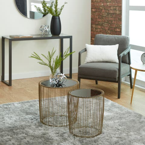 Gold Iron Contemporary Accent Table (Set of 2) - 18 x 18 x 18Round