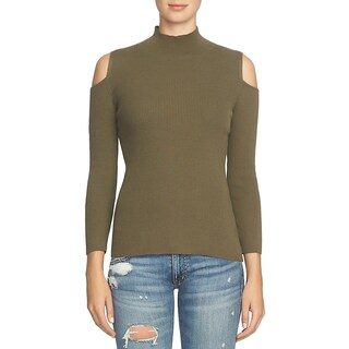 1.State Womens Mock Turtleneck Sweater Ribbed Knit Cold Shoulder - XS