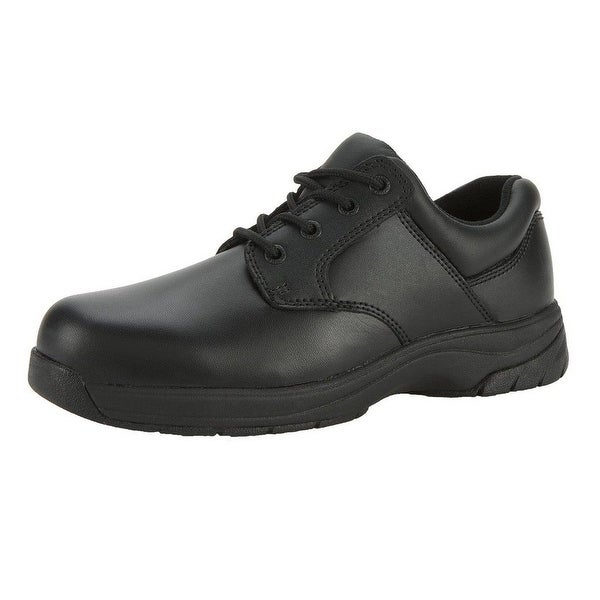 Rocky Work Shoes Mens Patent Duty Oxford SlipStop Black