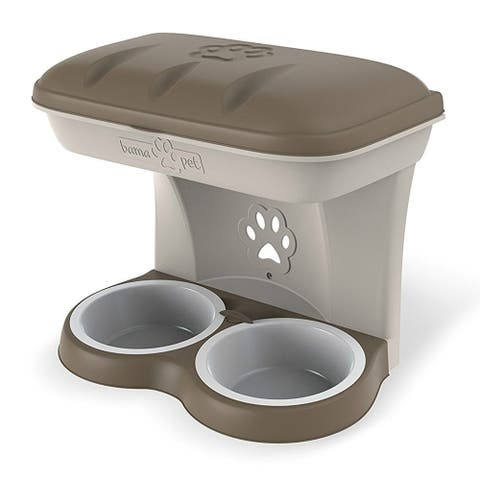 Bama Pet Mountable Food Stand with Storage Compartment, Taupe, Larger Dog Size