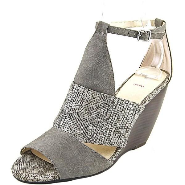 BC Footwear Glow Women Open Toe Synthetic Gray Wedge Sandal