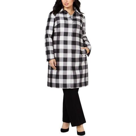 Anne Klein Womens Plus Dress Coat Fall Check Print