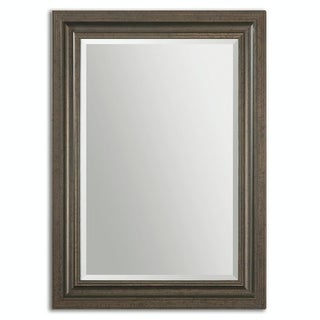 "43.75"" Adolffo Beveled Rectangular Mirror with Dark Bronze Solid Wood Frame - Brown"
