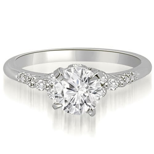 0.95 cttw. 14K White Gold Round Cut Diamond Engagement Ring