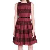 Tommy Hilfiger Red Womens Size 12 Striped Pleated A-Line Dress