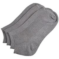 Unique Bargains 2 Pairs Elastic Cuff Ribbed Casual Ankle Socks Gray for Men