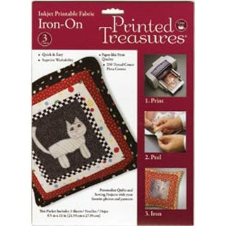 "White - Printed Treasures Iron-On Ink Jet Fabric Sheets 8.5""X11"" 3/P"