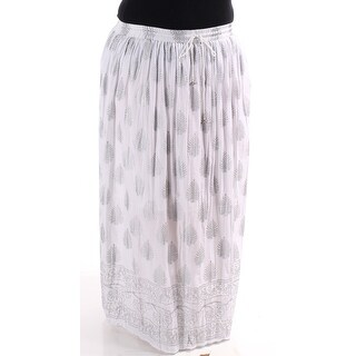 NY COLLECTION Womens New 1092 White Floral Knife Pleated Maxi Casual Skirt L B+B