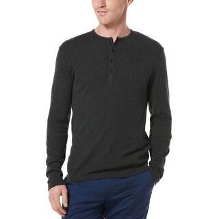 Perry Ellis Mens Big & Tall Long Sleeve Henley Shirt Slate Charcoal Cotton Blend