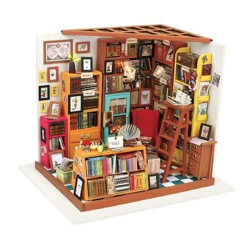 "DIY 3D Wooden Dollhouse Kit - Sam's Study - 8.9x7.3x8.9"""