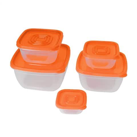 Home Plastic Square Food Sunflower Seeds Holder Storage Container Orange 5 Pcs Set
