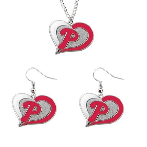 Philadelphia Phillies Swirl Heart Necklace And Dangle Earring Set Mlb Charm Gift