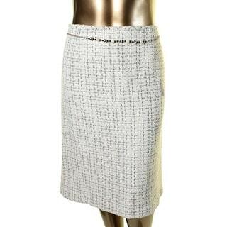 Tahari ASL Womens Plus George Boucle Metallic Pencil Skirt
