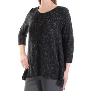 Womens Black 3/4 Sleeve Jewel Neck Casual Hi-Lo Sweater Size M