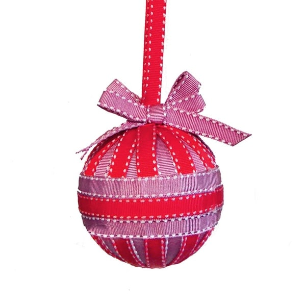 "3.25"" Red and Purple Stitched Ribbon Christmas Ball Ornament with Bows"