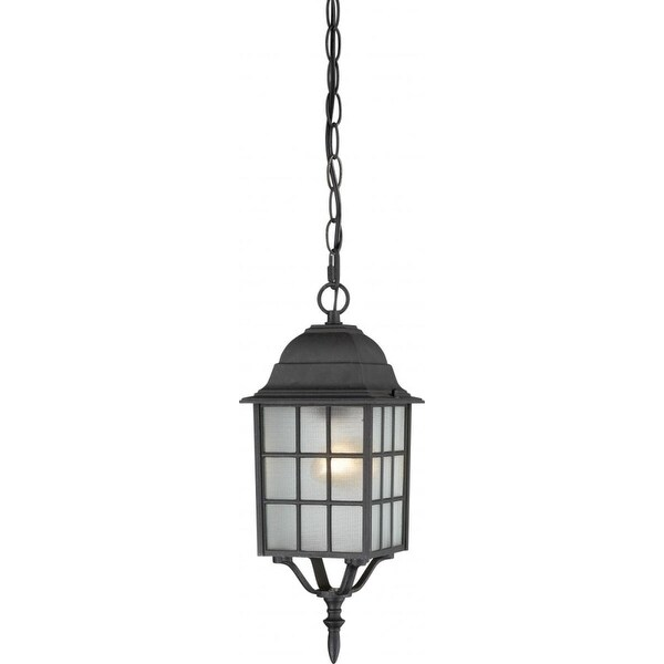 "Nuvo Lighting 60/4913 Adams 1-Light 6-1/8"" Wide Outdoor Mini Pendant with Patterned Glass Shade - Textured Black - N/A"