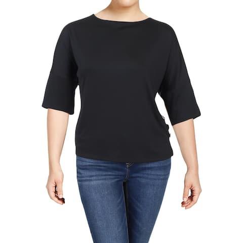 Kasper Womens Plus Pullover Top Embellished Short Sleeves