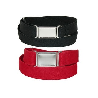 CTM® Plus Size Elastic Belt with Magnetic Buckle (Pack of 2 Colors)