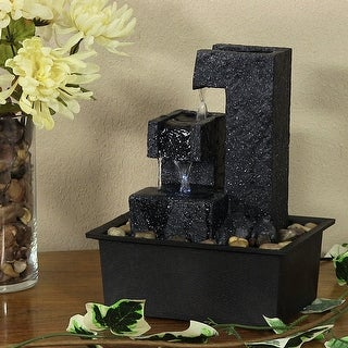 Sunnydaze Square Tiered Tabletop Water Fountain 10.5 Inch Tall
