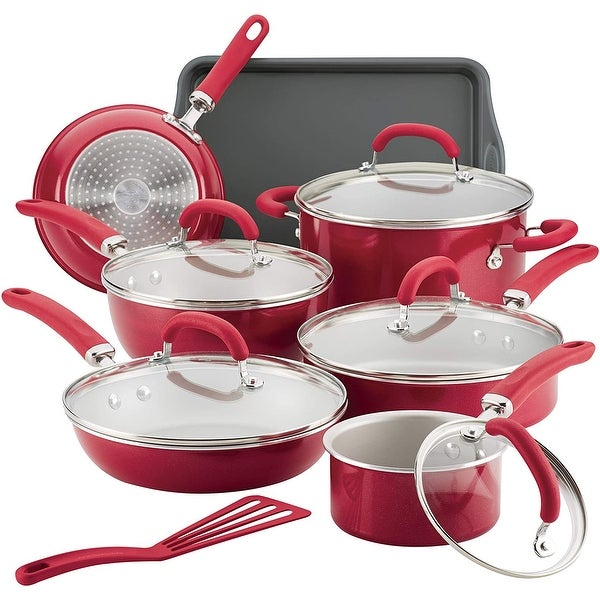 Rachael Ray Create Delicious Aluminum 13-Piece Nonstick Cookware Set - 13 Pc. Opens flyout.