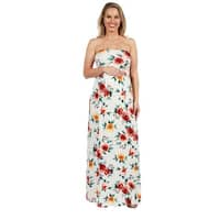 24Seven Comfort Apparel Strapless White Floral Maternity Maxi Dress