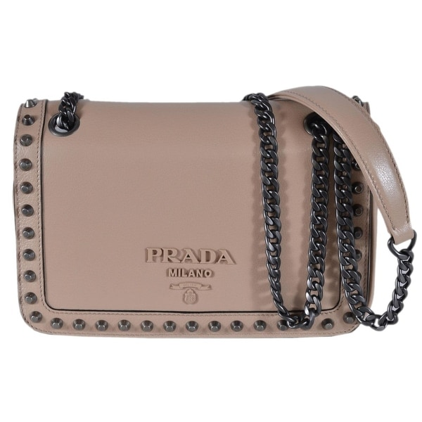 da925f3d17 Shop Prada 1BD147 Cammeo Beige Leather Studded Crossbody Purse ...