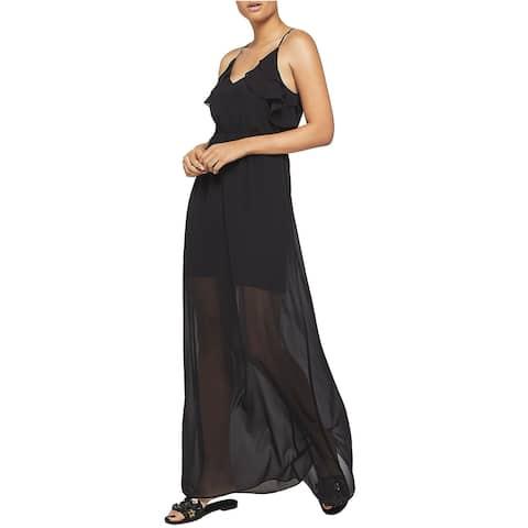 BCBGeneration Womens Sleeveless Ruffle Maxi Dress X-Small Black