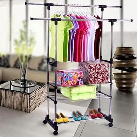 Dual Bars Horizontal 3-Tier Stainless Steel Clothing Garment Shoe Rack