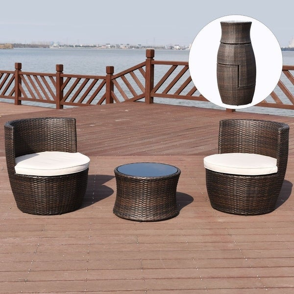 Costway 3 pcs outdoor rattan stackable furniture set chair for Small stackable coffee tables