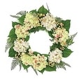 "24"" Decorative Pink Cream and Green Hydrangea and Berry Artificial Floral Wreath - Unlit - Thumbnail 0"