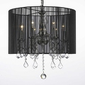 Crystal Swag Plug In Chandelier Lighting With Shade & 14' Feet Of Hanging Chain & Wire - Thumbnail 0