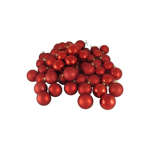 """180ct Red Hot Shatterproof 4-Finish Christmas Ball Ornaments 2.5"""" (60mm)"""