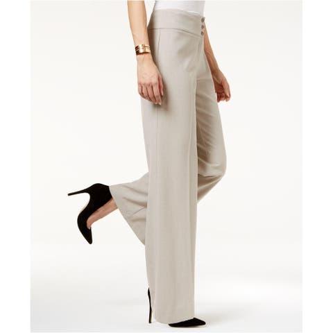"""Style & Co Women's Petite Stretch Wide-Leg Pants Beige Size 12 - 12"""""""