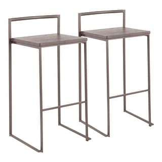Link to Carbon Loft Yadriel Industrial Stackable Brown Wood and Metal Bar Stool Similar Items in Living Room Furniture