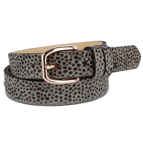 The British Belt Company Women's Tamsin Leopard Print Pony Hair Belt
