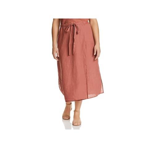 Eileen Fisher Womens Plus Wrap Skirt Linen Mid-Calf - 1X