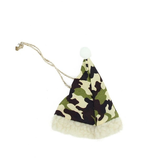 """4.25"""" Camouflage Patterned Hunting Santa Hat with Faux Fur Brim Christmas Ornament - green"""