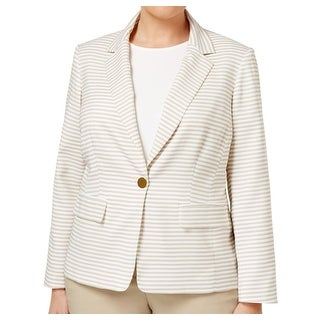 Calvin Klein NEW Beige White Striped Women's Size 12 Blazer Jacket