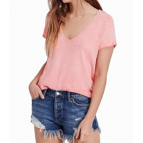 Free People Pink Women's Small Scoop Neck Lace Trim Knit Top