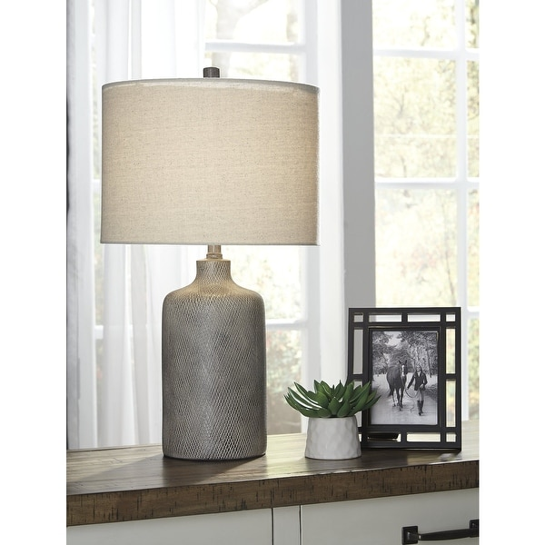 """Linus Antique Black Contemporary 25 Inch Table Lamp - 14"""" W x 14"""" D x 25"""" H. Opens flyout."""