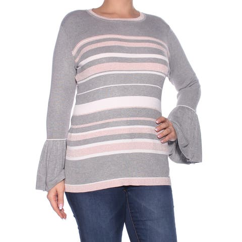 TOMMY HILFIGER Womens Gray Bell Sleeve Scoop Neck Sweater Size: XXL