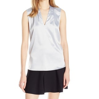 T Tahari NEW Silver Women's Size Large L Pleated Neck Sateen Blouse